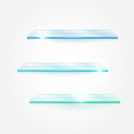 home product: Set of vector glass shelves Illustration