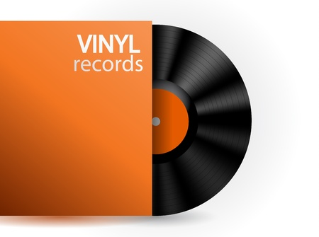 Vector vinyl record with orange box Vector