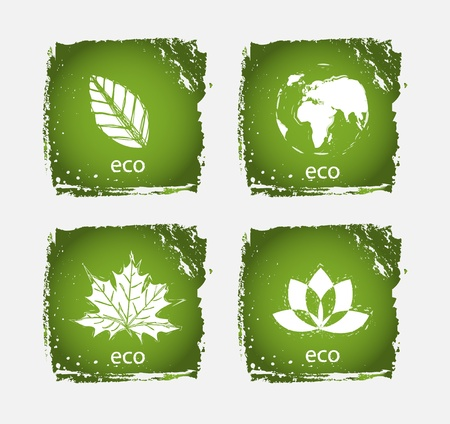 Green grunge ecology icons (vector) Illustration