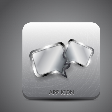 Metal vector application icon (chat, forum, social network) Vector