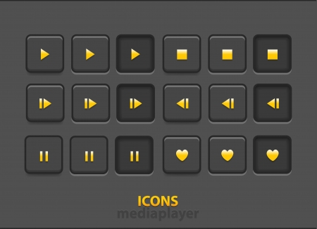 Vector media player icons with hover over and clicked Vector