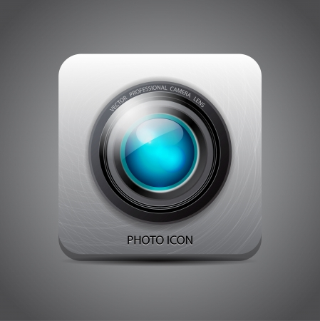 Vector camera application metal icon Illustration
