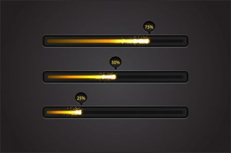 Vector shiny and glowing progress bar