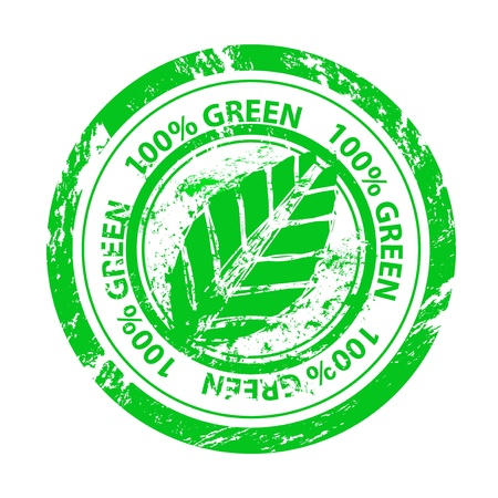 Vector 100% green grunge stamp Stock Vector - 15045873