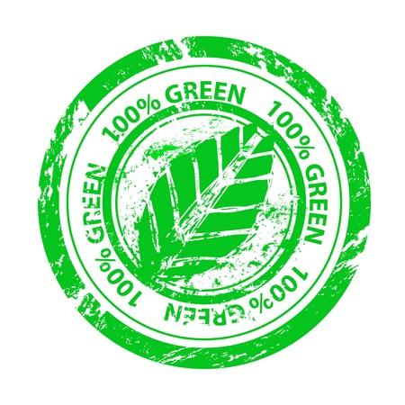 Vector 100% green grunge stamp Stock Vector - 15045873