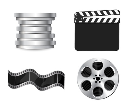 Vector  clapperboard with waving film