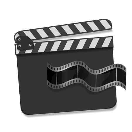 Vector clapperboard met wuivende film