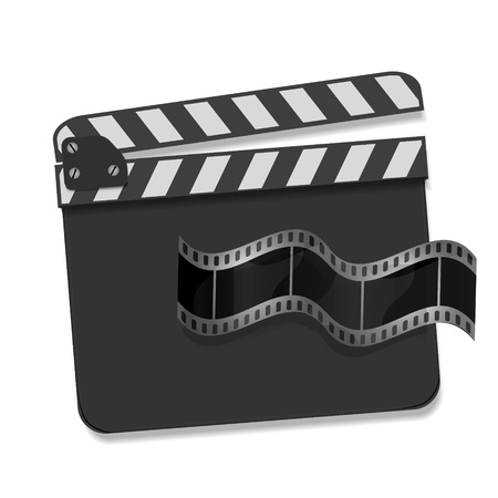 movie screen: Vector  clapperboard with waving film