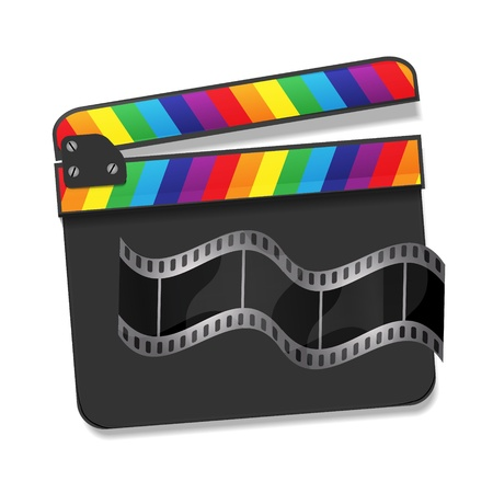 Vector  clapperboard with waving film Vector