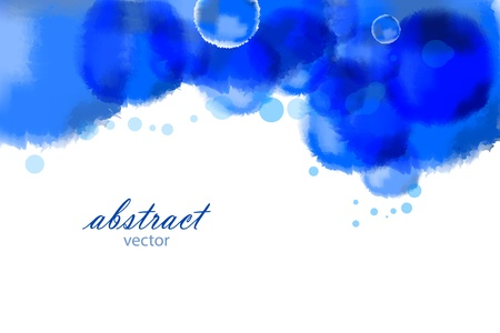Vector bright blue watercolor background Ilustração