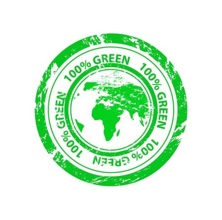 Vector 100% green grunge stamp Stock Vector - 15045863