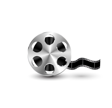 film frame: Vector metal textured film reel