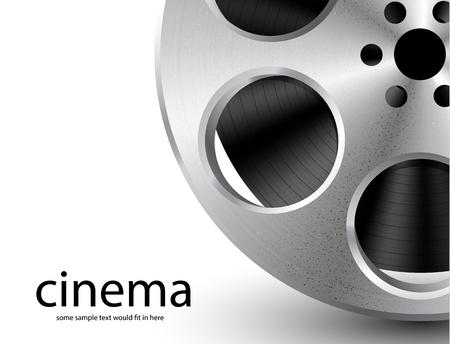 film industry: Vector metal textured film reel