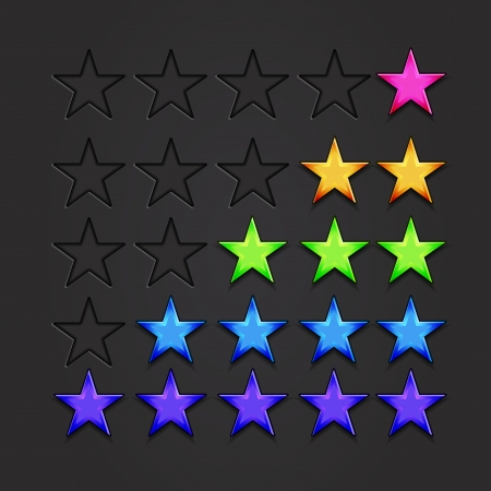 favorite colour: Vector shiny stars for rating  quality marks