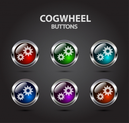 Colorful buttons with cogwheel icon