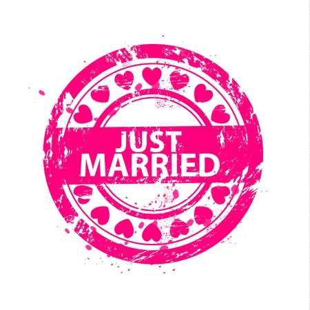 black wedding couple: Vector just married grunge scratched rubber stamps