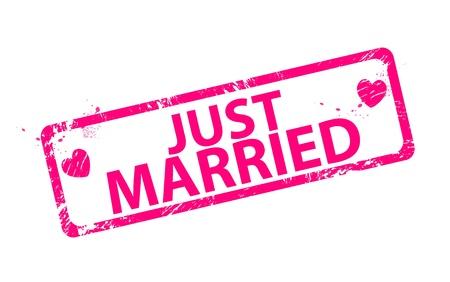 femme mari�e: Vecteur vient d'�pouser des timbres en caoutchouc grunge ray�