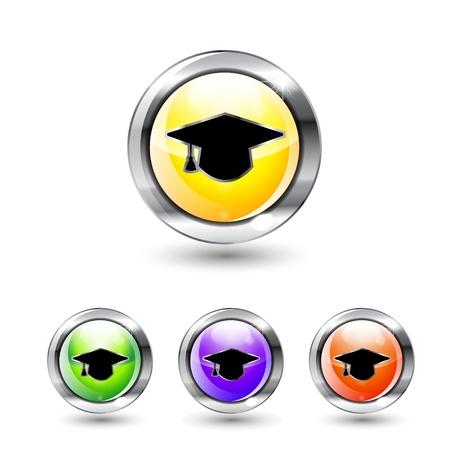 Vector graduation cap buttons Stock Vector - 17827022