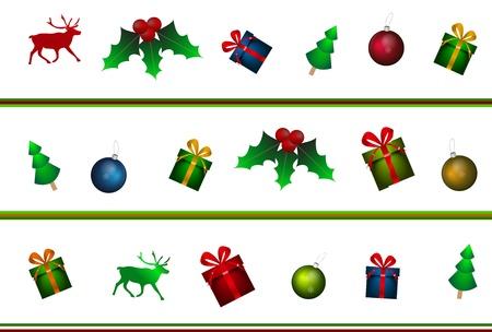 Vector Chritmas pattern (gift boxes, reindeer Christmas balls) Stock Vector - 17826598