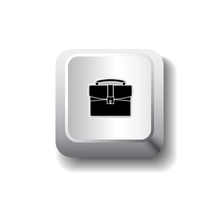 brief case: Vector briefcase icon on push button Illustration