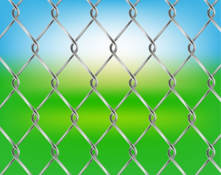 chained link: Vector chain fence on green background Illustration