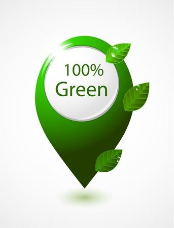 Green 100% natural map pointer Vector
