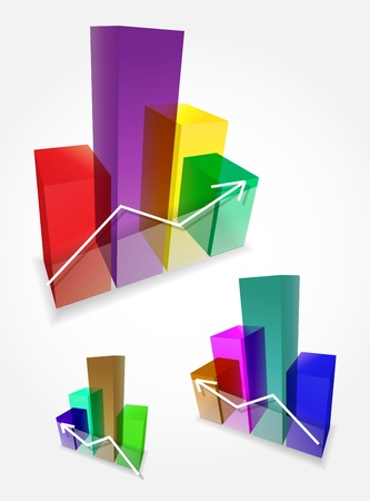 Vector colorful 3d bar graphs Vector