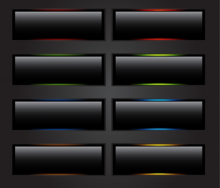 Black glowing buttons Vector