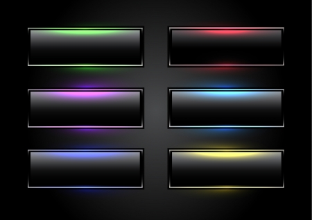 rectangle button: Black glowing buttons
