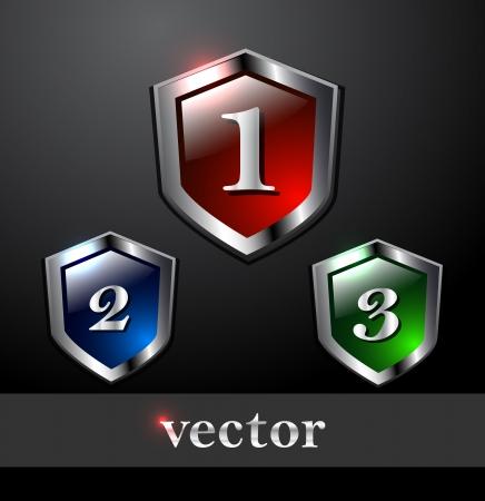 blue shield: Shiny vector shields