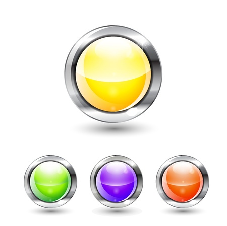Glossy colorful vector buttons with shadow Vector