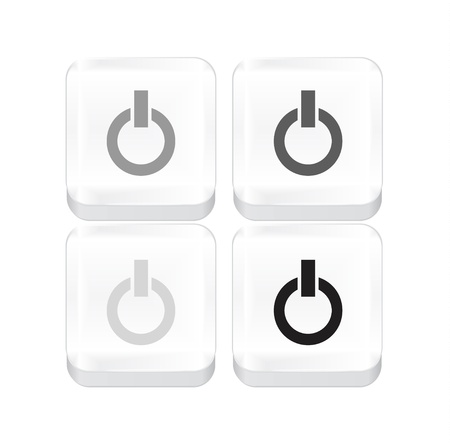 White vector power button on white Vector