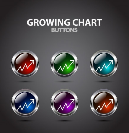 Vector growing chart button Vector