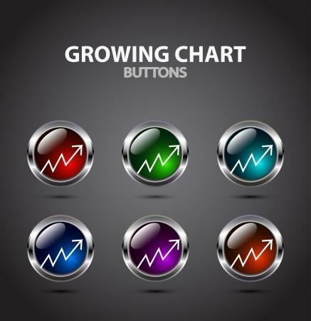 Vector growing chart button Stock Vector - 17826136