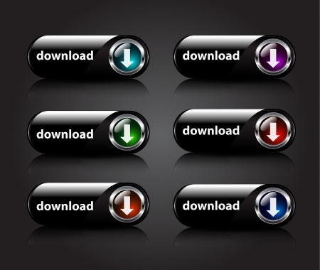 shiny buttons: Vector shiny download buttons