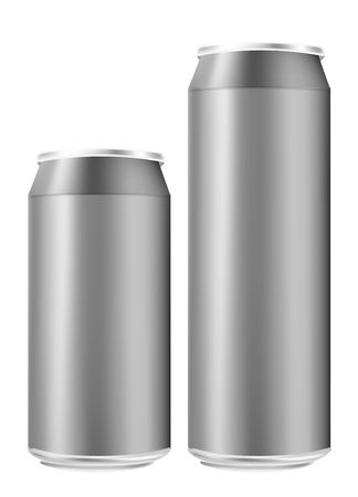 Semi-realistic vector tin can: tall and short Stock Vector - 17826744