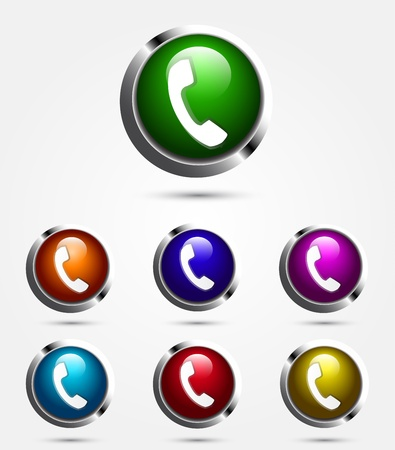 speaker phone: Colorful vector call button Illustration
