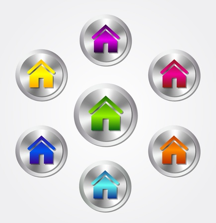 home security: Vector home icons Illustration