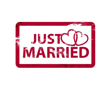 just married: Vector acaba de casarse con rayados grunge sellos de caucho