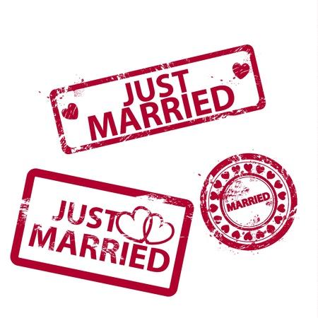 just married: Vector acaba de casarse con rayados grunge sellos de caucho