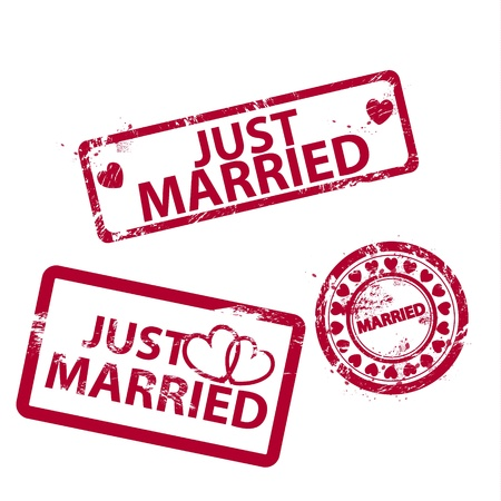 Vector just married grunge scratched rubber stamps
