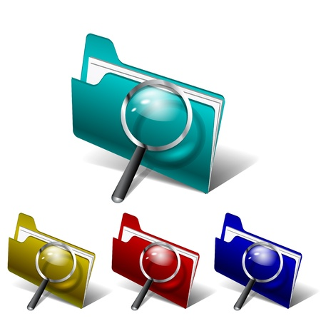 Vector glossy search folder icon with magnifying glass Stock Vector - 17827052