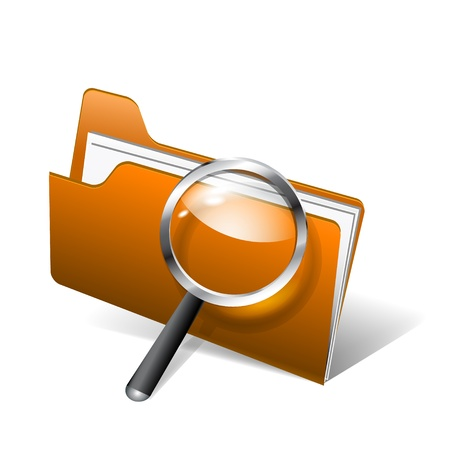 Vector glossy search folder icon with magnifying glass Vector