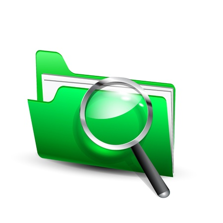 Vector glossy search folder icon with magnifying glass Stock Vector - 17826949