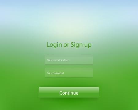 filling folder: Green nature bokeh login page