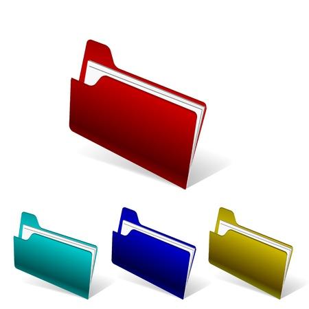 Vector coloful shiny folder icon, different colors Stock Vector - 17826854