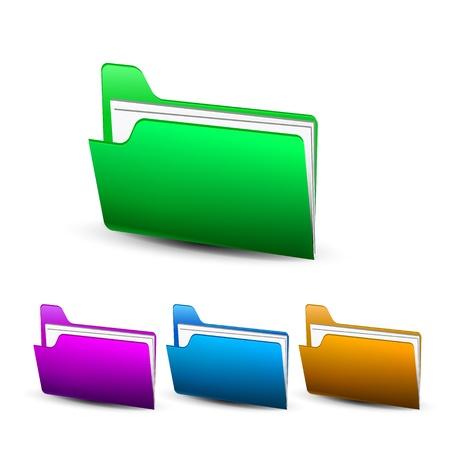 Vector coloful shiny folder icon, different colors Stock Vector - 17826484