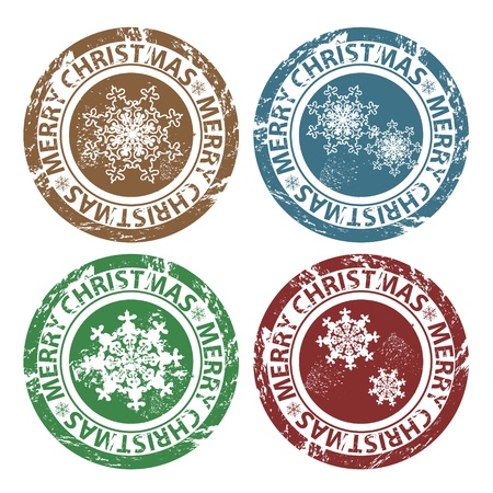 Grunge Merry Christmas stamps in blue, brown, green and red