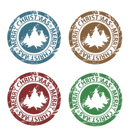 Grunge Merry Christmas stamps in blue, brown, green and red Vector