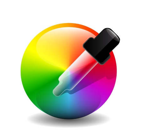 Vector color picer icon (dropper over color palette) Stock Vector - 17827069